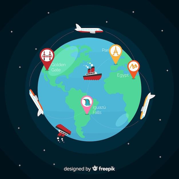 Platte ontwerp wereld toerisme dag met aarde Gratis Vector
