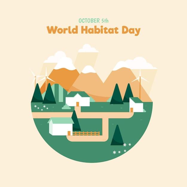 Platte ontwerp wereldhabitat dag Gratis Vector