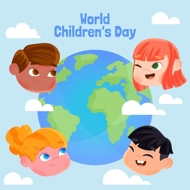 Platte ontwerp wereldkinderen dag evenement Gratis Vector