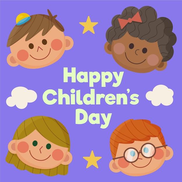 Platte ontwerp wereldkinderen dag illustratie Gratis Vector