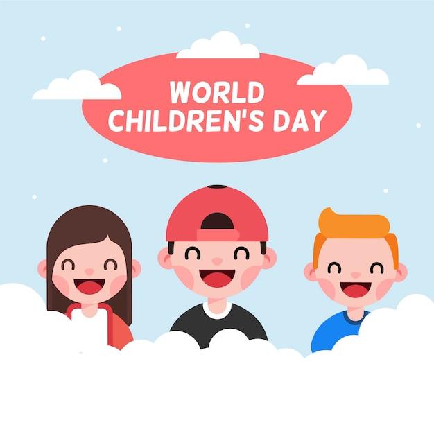 Platte ontwerp wereldkinderen dag Gratis Vector