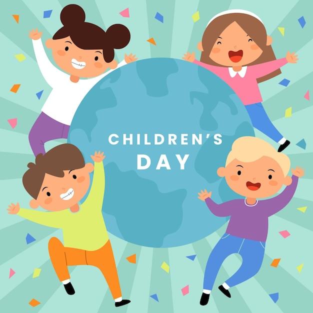 Platte ontwerp wereldkinderen dag Premium Vector