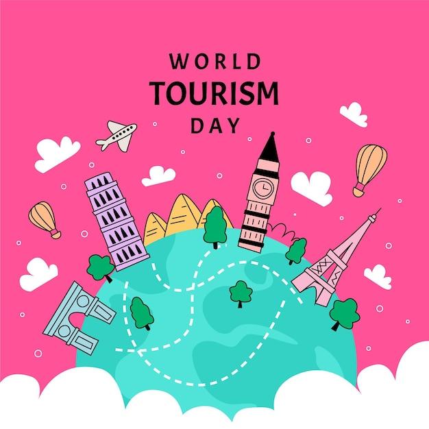 Platte ontwerp wereldtoerisme dag evenement Gratis Vector