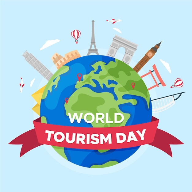 Platte ontwerp wereldtoerisme dag Gratis Vector