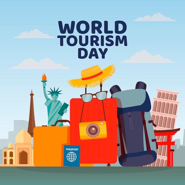 Platte ontwerp wereldtoerisme dagviering Gratis Vector