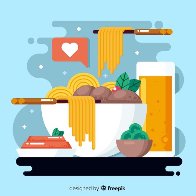 Platte ontwerp wereldvoedseldag met pasta Gratis Vector