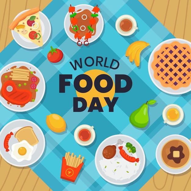 Platte ontwerp wereldvoedseldag op servet Gratis Vector