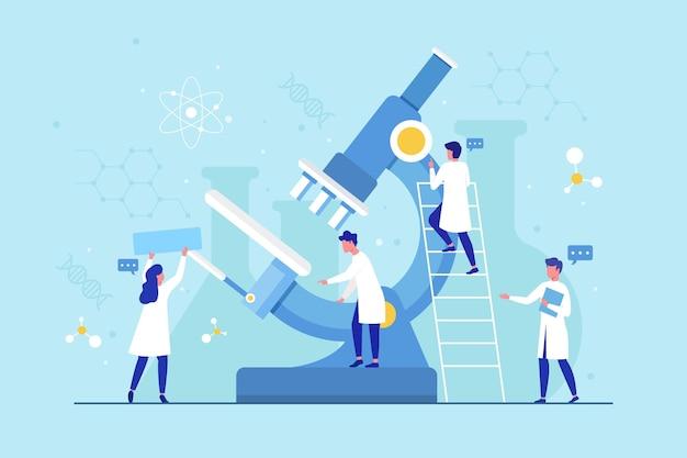 Platte ontwerp wetenschap concept met microscoop Gratis Vector