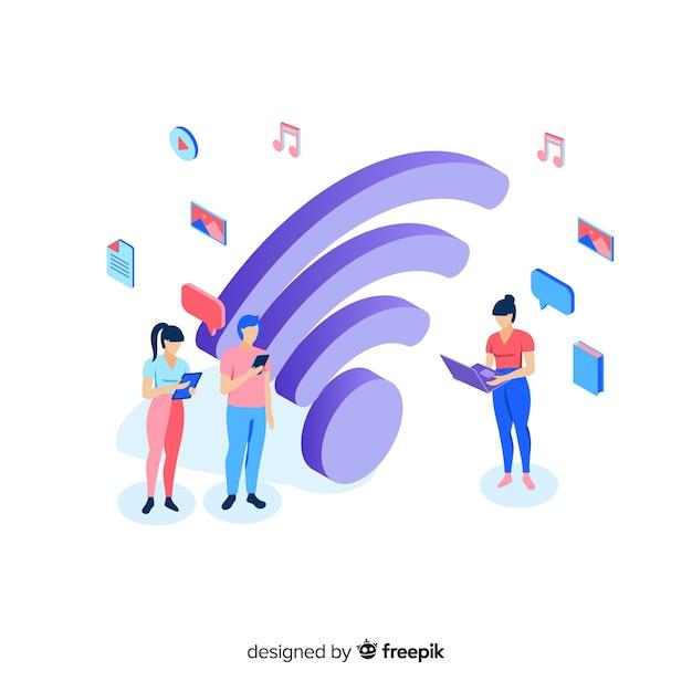 Platte ontwerp wifi netwerk concept Gratis Vector
