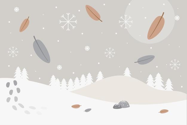 Platte ontwerp winter achtergrond Premium Vector