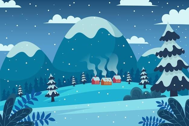 Platte ontwerp winter achtergrond Gratis Vector