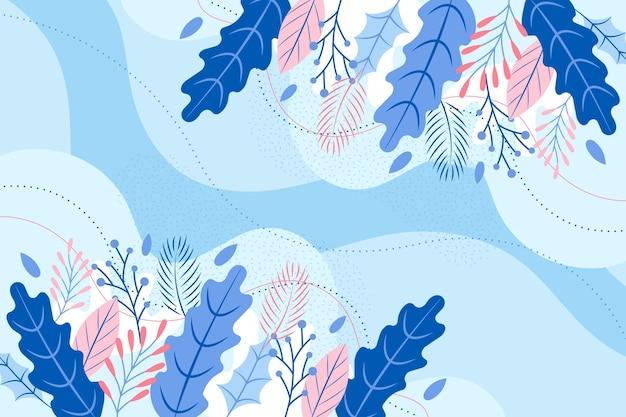 Platte ontwerp winter bloemen achtergrond Premium Vector