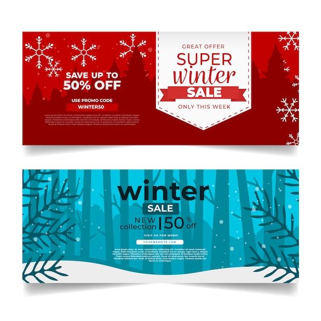 Platte ontwerp winter verkoop banners sjabloon Gratis Vector