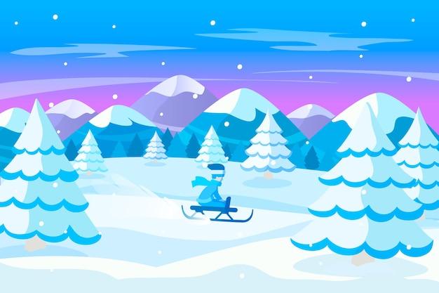 Platte ontwerp winterlandschap concept Gratis Vector