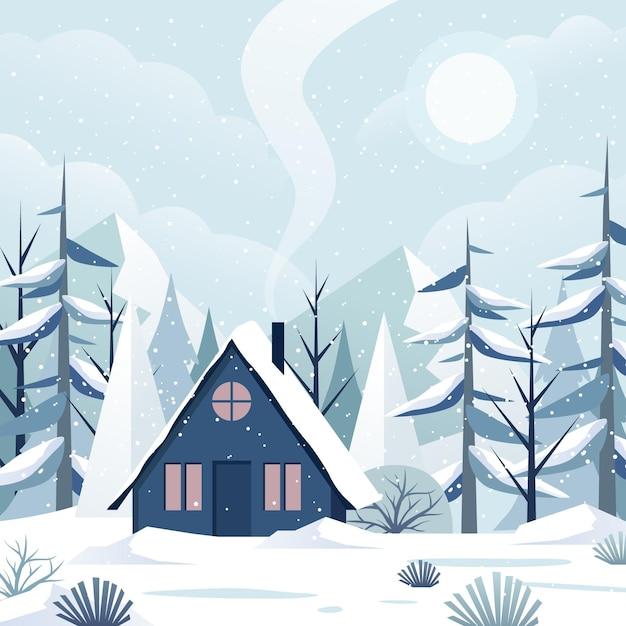 Platte ontwerp winterlandschap Premium Vector