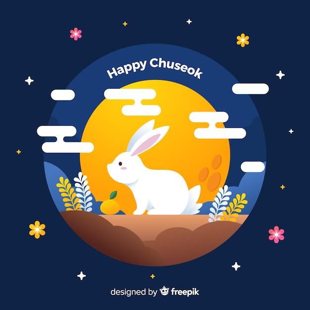 Platte ontwerp wit konijn op chuseok Gratis Vector