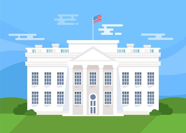 Platte ontwerp witte huis vooraanzicht en vlag Gratis Vector