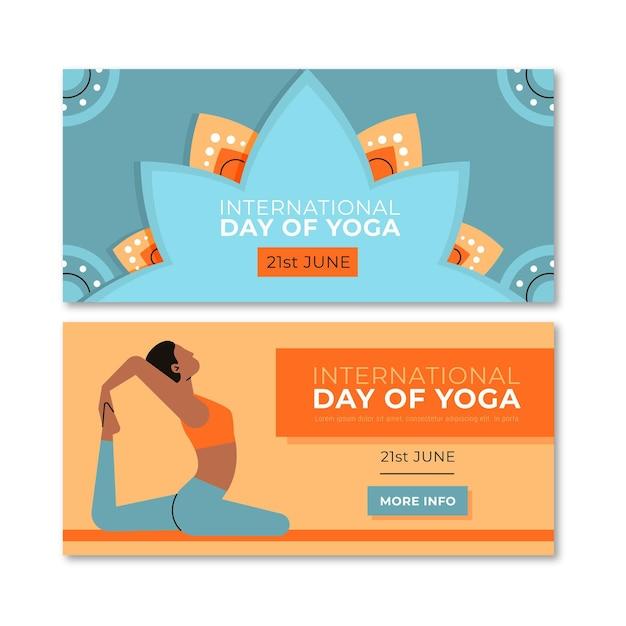 Platte ontwerp yoga dag banners Gratis Vector