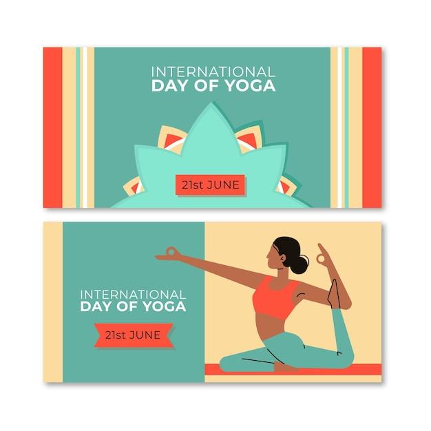 Platte ontwerp yoga dag horizontale banners Gratis Vector