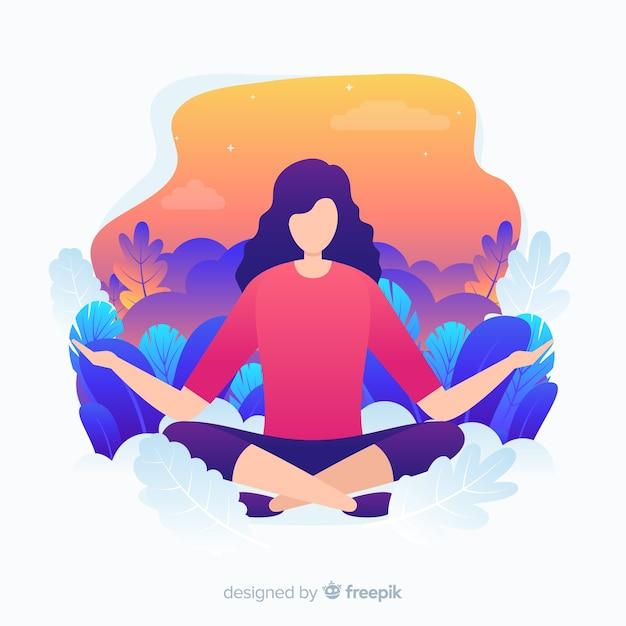 Platte ontwerp yoga karakter voor bestemmingspagina Gratis Vector