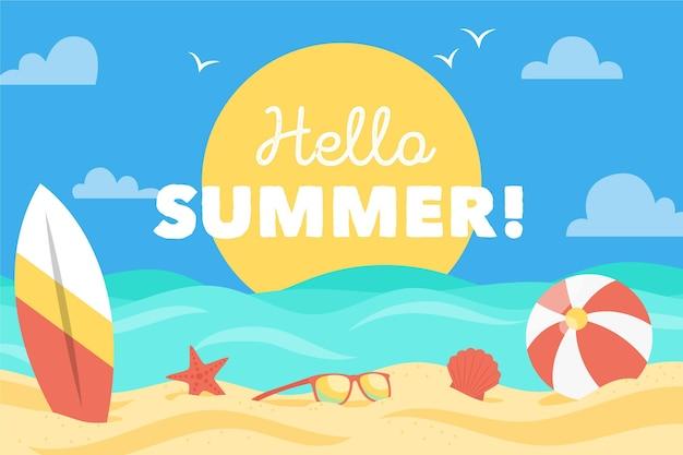 Platte ontwerp zomer achtergrond met strand en zee Premium Vector