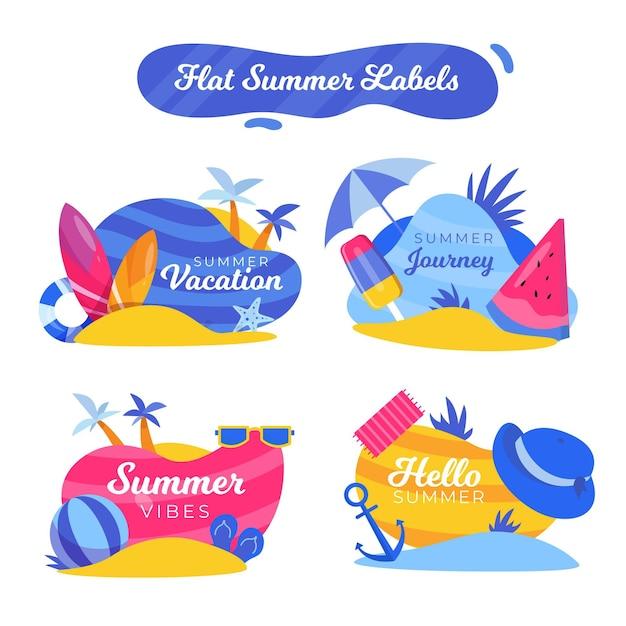 Platte ontwerp zomer badges collectie Gratis Vector