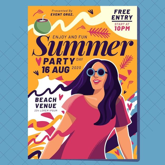 Platte ontwerp zomer partij poster sjabloon Gratis Vector