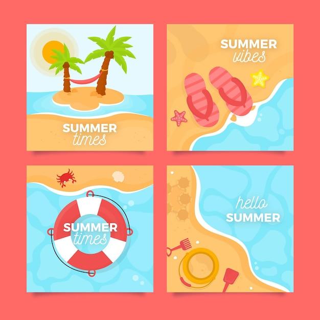 Platte ontwerp zomer strandkaarten Gratis Vector