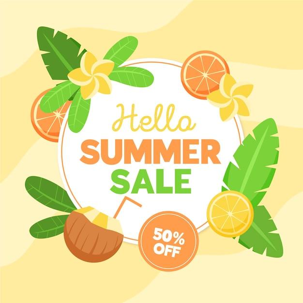 Platte ontwerp zomer verkoop korting banner Gratis Vector