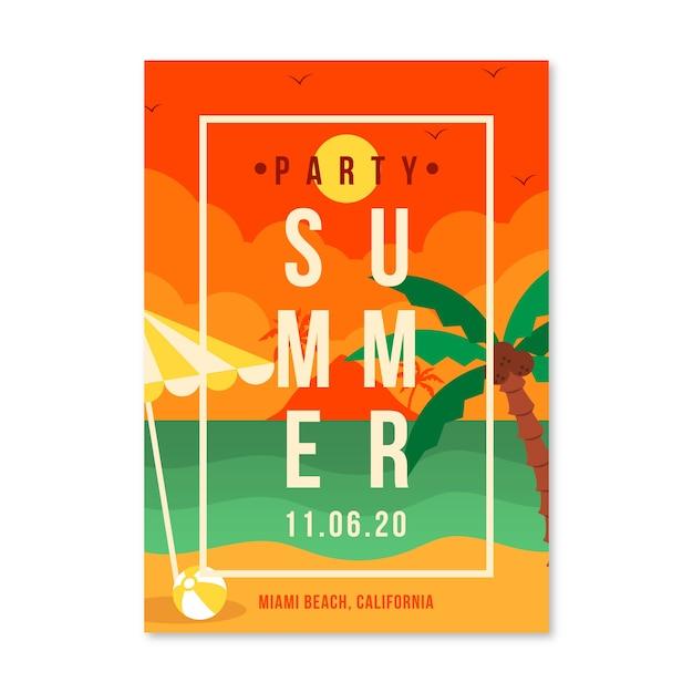Platte ontwerp zomerfeest flyer Gratis Vector