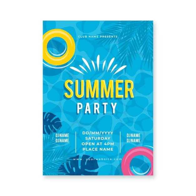 Platte ontwerp zomerfeest poster Gratis Vector