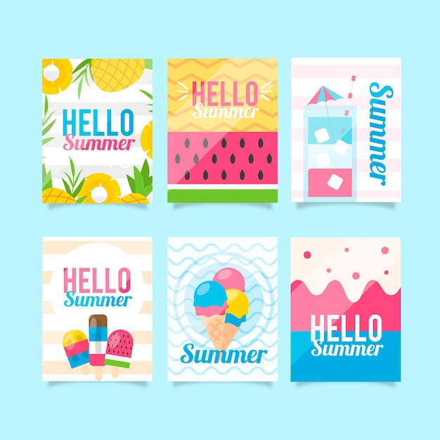 Platte ontwerp zomerkaarten collectie Gratis Vector