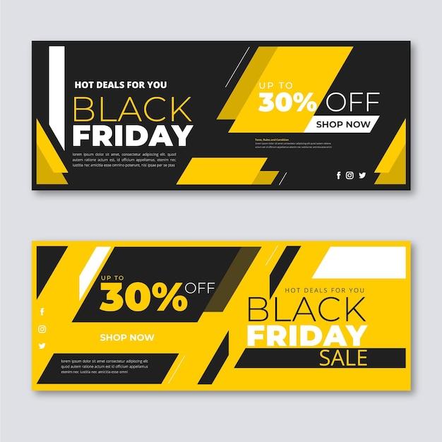 Platte ontwerp zwarte vrijdag banners collectie Gratis Vector