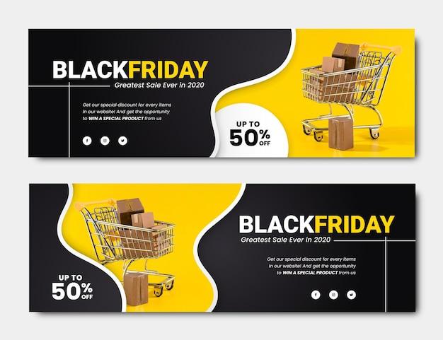 Platte ontwerp zwarte vrijdag banners sjabloon Premium Vector