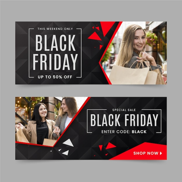 Platte ontwerp zwarte vrijdag banners Premium Vector