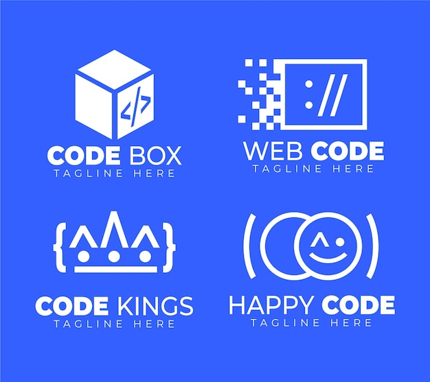 Platte ontwerpcode logo pack Gratis Vector