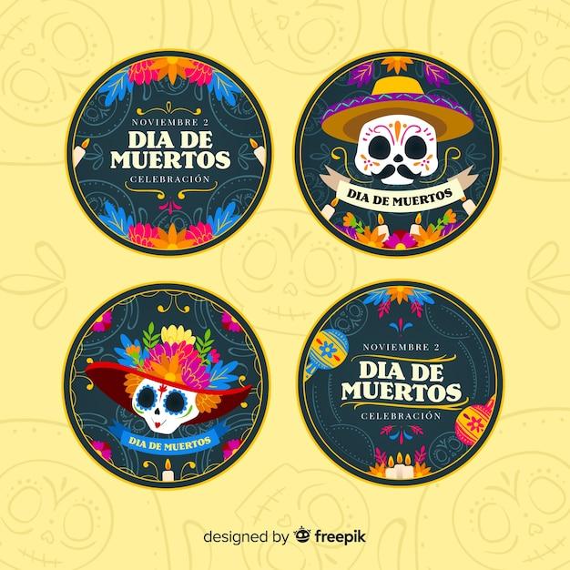 Platte ontwerpdag van de dead label-collectie Gratis Vector