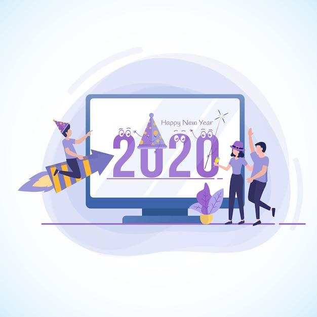 Platte ontwerpillustratie om het nieuwe jaar 2020 te vieren Premium Vector