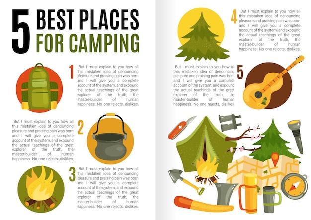Platte ontwerpinfographics met tekstveld met informatie over de beste kampeerplaatsen en de benodigde uitrusting Gratis Vector