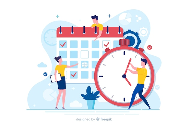 Platte ontwerppersonages die timemanagement doen Gratis Vector