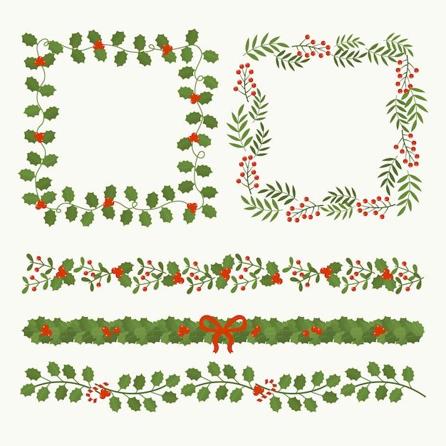 Platte ontwerpset kerst frames Gratis Vector