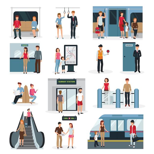 Platte ontwerpset met mensen in verschillende situaties in de metro Gratis Vector