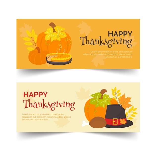 Platte ontwerpset thanksgiving banners Gratis Vector