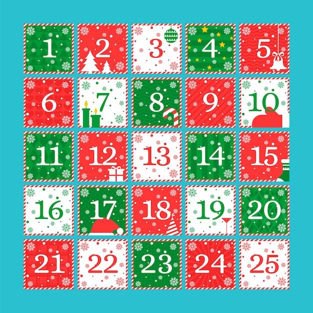 Platte ontwerpsjabloon adventkalender Gratis Vector