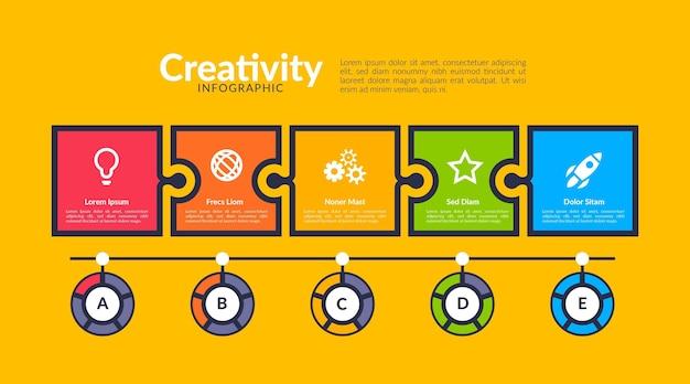 Platte ontwerpsjabloon creativiteit infographics Premium Vector