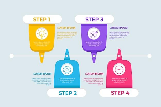Platte ontwerpsjabloon infographic stappen Gratis Vector