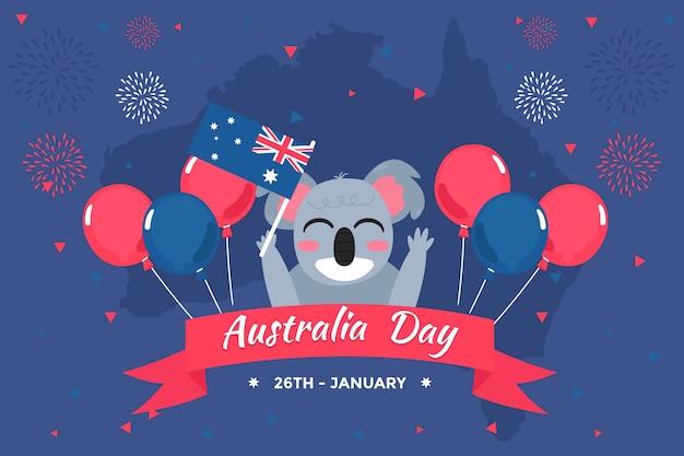 Platte ontwerpthema voor australië dag evenement Gratis Vector