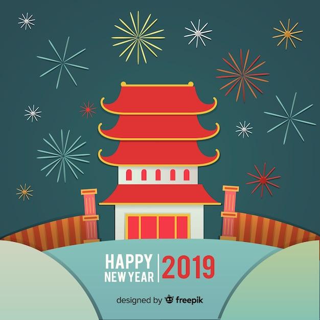 Platte pagode chinees nieuwjaar achtergrond Gratis Vector