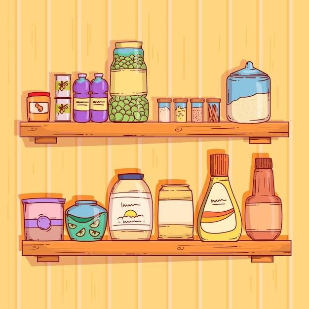 Platte pantry voedsel illustratie Gratis Vector