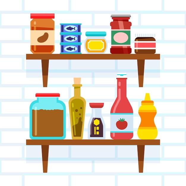 Platte pantry voedsel illustratie Premium Vector